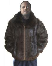 GD872 Mens Fur Natural Brown Genuine Beaver Fur Fox