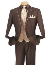 GD1424 Mens Brown/Beige 5 Piece Single Breasted 2 Button