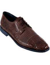 JSM-4588 BROWN Genuine Caiman Crocodile With Lizard Dress Oxford