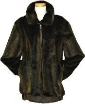 YQ4529 Stylish mens brown leather jacket Faux Fur Bomber