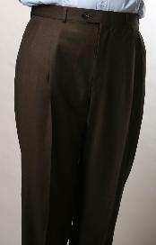 RQ8060 Brown Parker Pleated Slacks Pants Lined Trousers