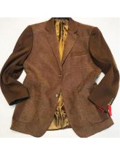 AP666 Mens Brown 2 Buttons Single Breasted Notch Lapel