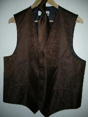 KA1296 - brown color shade VEST & TIE SET