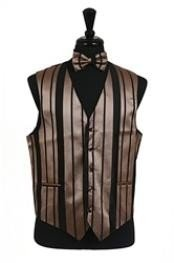 VS4012 Vest/Tie/Bowtie Sets (Black-Mocha Combination)