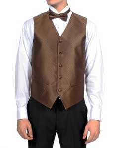 PN-1 Dark brown color shade Diamond Pattern 4-Piece Vest