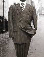 QV9001 brown color shade Double Breasted Suit with Pinstripe