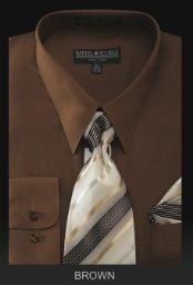 BR6001 Dress Shirt - PREMIUM TIE - brown color