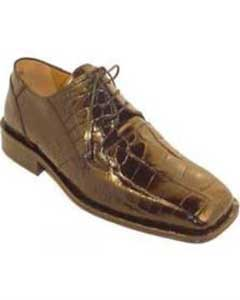 HY7834 Genuine Alligator skin Shoes for Online Chocolate