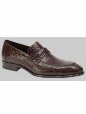 MO550 Mezlan Brand Sierpes Style Genuine Crocodile Brown Loafer