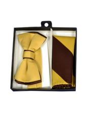 CH1698 Mens Polyester Brown/Gold Satin dual colors classic Bowtie