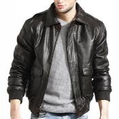 AC-205 brown color shade Lambskin Leather Bomber Jacket Available