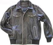 KA4761 Leather Bomber Jacket Cowhide brown color shade Liquid