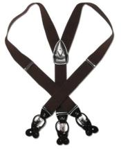 F5RV Solid Dark brown color shade Leather Suspenders Elastic