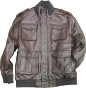 KA8734 brown color shade safari/military inspired bomber with bellowed