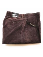 JSM-3332 Mens Bagazio Mini Corduroy Brown Single Pleated Pants