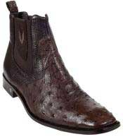 GenuinebrowncolorshadeFullQuillOstrichDressyBoot
