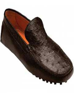 "HQ4672 ""Tom"" brown color shade Genuine Ostrich / Calf"