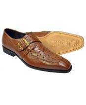 GD1767 Mens Brown Genuine Ostrich Monk Strap Leather Shoes