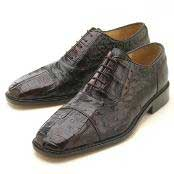 HJU501 Oxfords Dark brown color shade Croc/Ostrich Lace-Up
