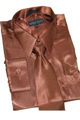 HU811 Satin brown color shade Dress Shirt Tie Hanky