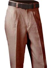 SM887 100% Linen Single Pleated Slacks Pant Brown