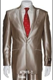 Shark2 Shiny Sharkskin Flashy Tan~champagne ~ beige~Taupe 2 Button