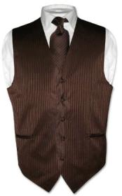 KX5793 Dress Vest & NeckTie Chocolate brown color shade