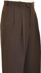 EF9011 Chocolate brown color shade Wide Leg Slacks Pleated