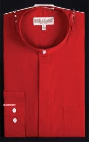 PN_J87 Banded Collar Dress Shirt Red