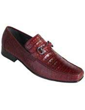JSM-3253 Mens Los Altos Stylish Burgundy Genuine Caiman Belly
