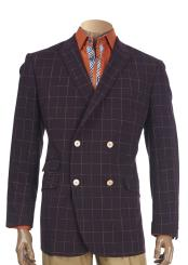JSM-5223 Mens Burgundy Checked Pattern Peak Lapel Double Breasted