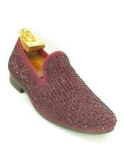 JSM-5615 Mens Burgundy Fashionable Carrucci Slip On Style Crystal