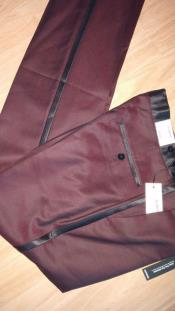 JSM-4203 Burgundy ~ Maroon Flat Front Tuxedo Slacks Pants