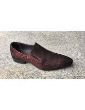 JSM-5504 Mens Burgundy Leopard Genuine Suede Leather Slip-On Loafer