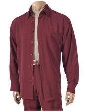 JSM-5228 Mens 6 Button Burgundy Long Sleeve Hightwist Microfiber