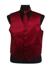 VS1014 Vest Tie Set Burgundy ~ Maroon ~ Wine