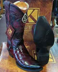 SS-7522 King Exotic Boots Burgundy Snip Toe Genuine Eel