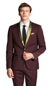 JSM-4393 Burgundy And Gold Tuxedo Wool Suit For Men