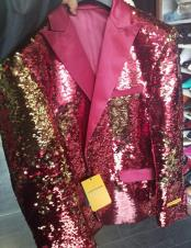 CH2445 Mens Burgundy & Gold Sequin Unique Shiny Fashion