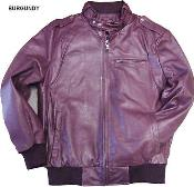 KA9845 Leather Bomber Jacket Soft Lambskin Burgundy ~ Maroon
