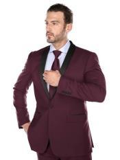 JS317 Mens Slim Fit Burgundy ~ Maroon Tuxedo