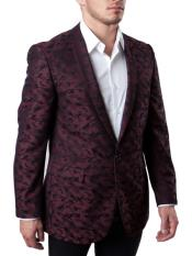 JS318 Mens Slim Fit Burgundy ~ Maroon Tuxedo