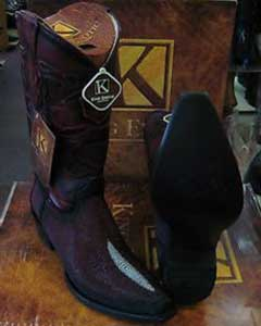 SS-9522 King Exotic Boots Burgundy Snip Toe Genuine Stingray