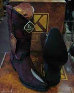 SM203 King Exotic Burgundy Western Cowboy Boot Snip Toe