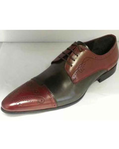 SM929 Burgundy/Grey Lace Up Leather Footwear Zota Unique Mens