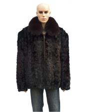 GD740 Mens Fur Burgundy Pull Up Zipper Fox Collar