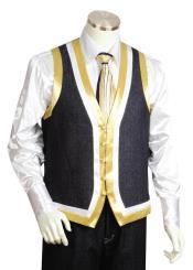 JA39 Mens Button Ribbon Fastener Black Shawl Lapel Vest