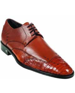 MK924 Cai (Gator) Belly Skin Cognac Dress Shoe
