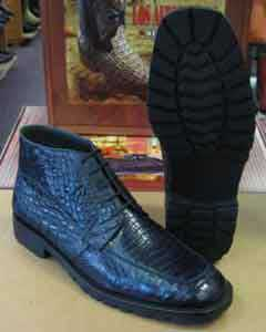 AC-887 Genuine All Crocodile Cai Navy Blue Shade Ankle