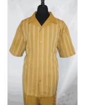 GD1728 Mens Camel Short Sleeve 5 Buttons Stripe Pattern